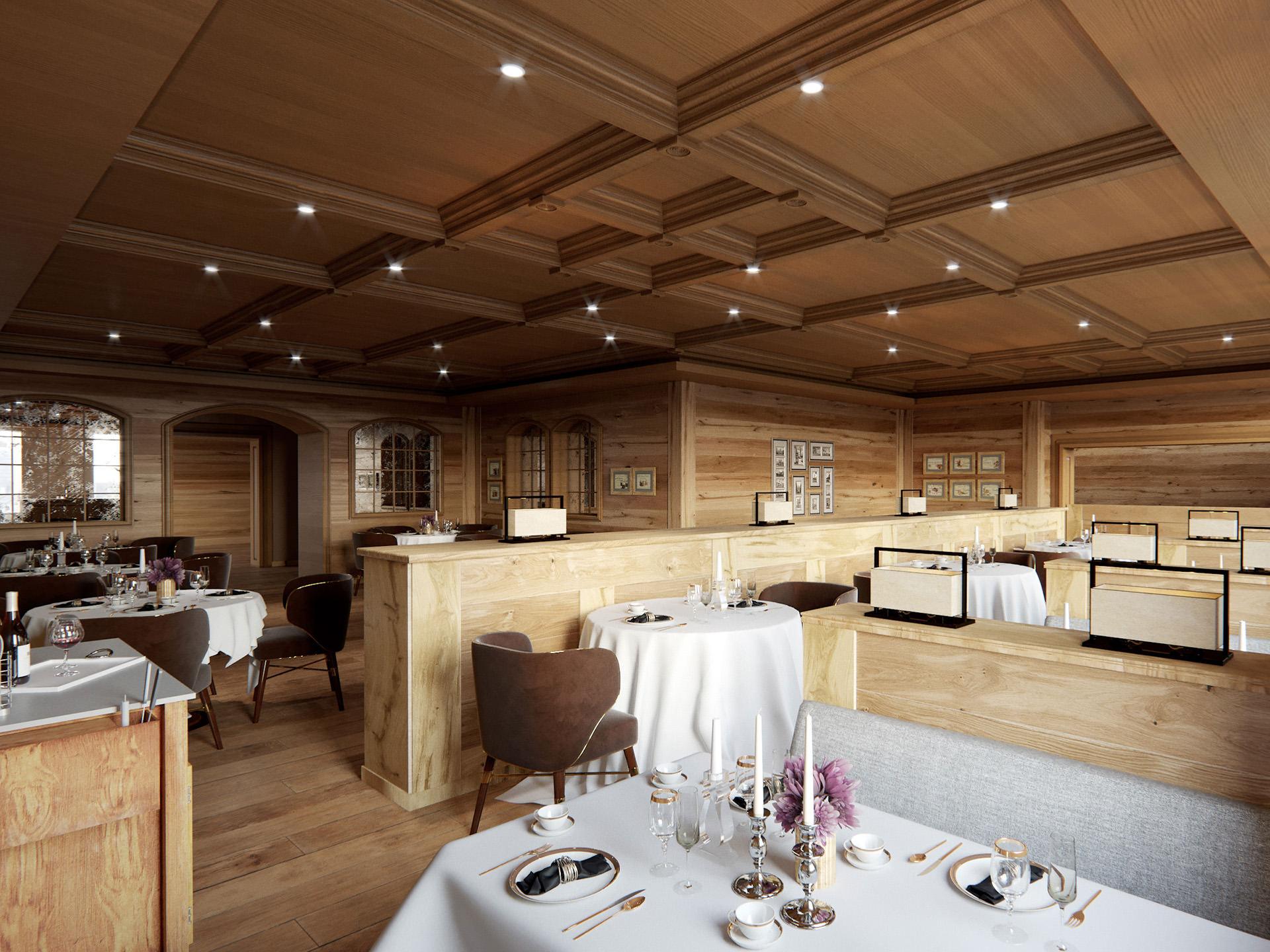 3D-interior-visualization-Mont-Cervin-restaurant-wood