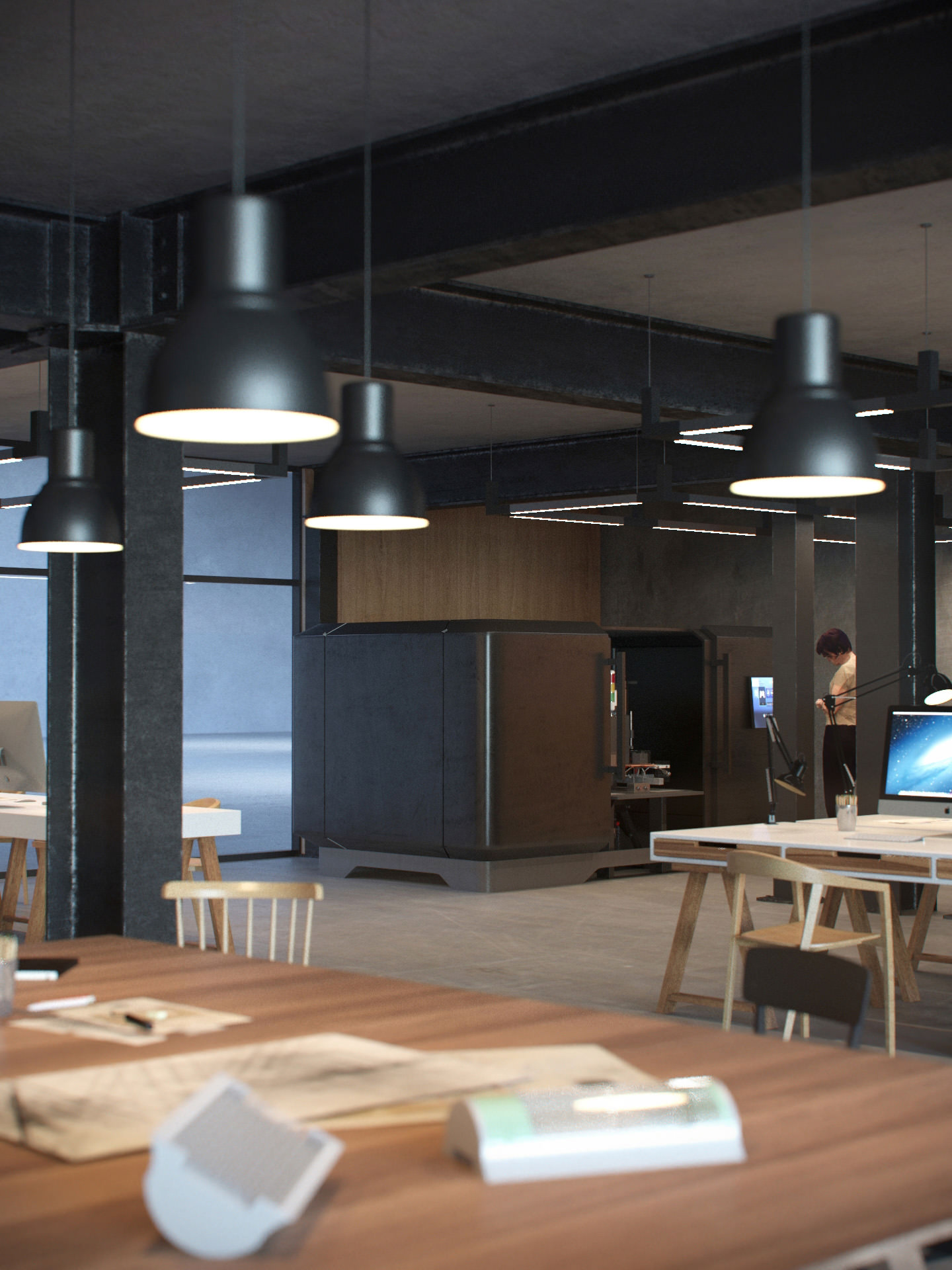 High end interior rendering of a lounge area in the factory workshop with wooden tables, bar stools and hanging lamps.