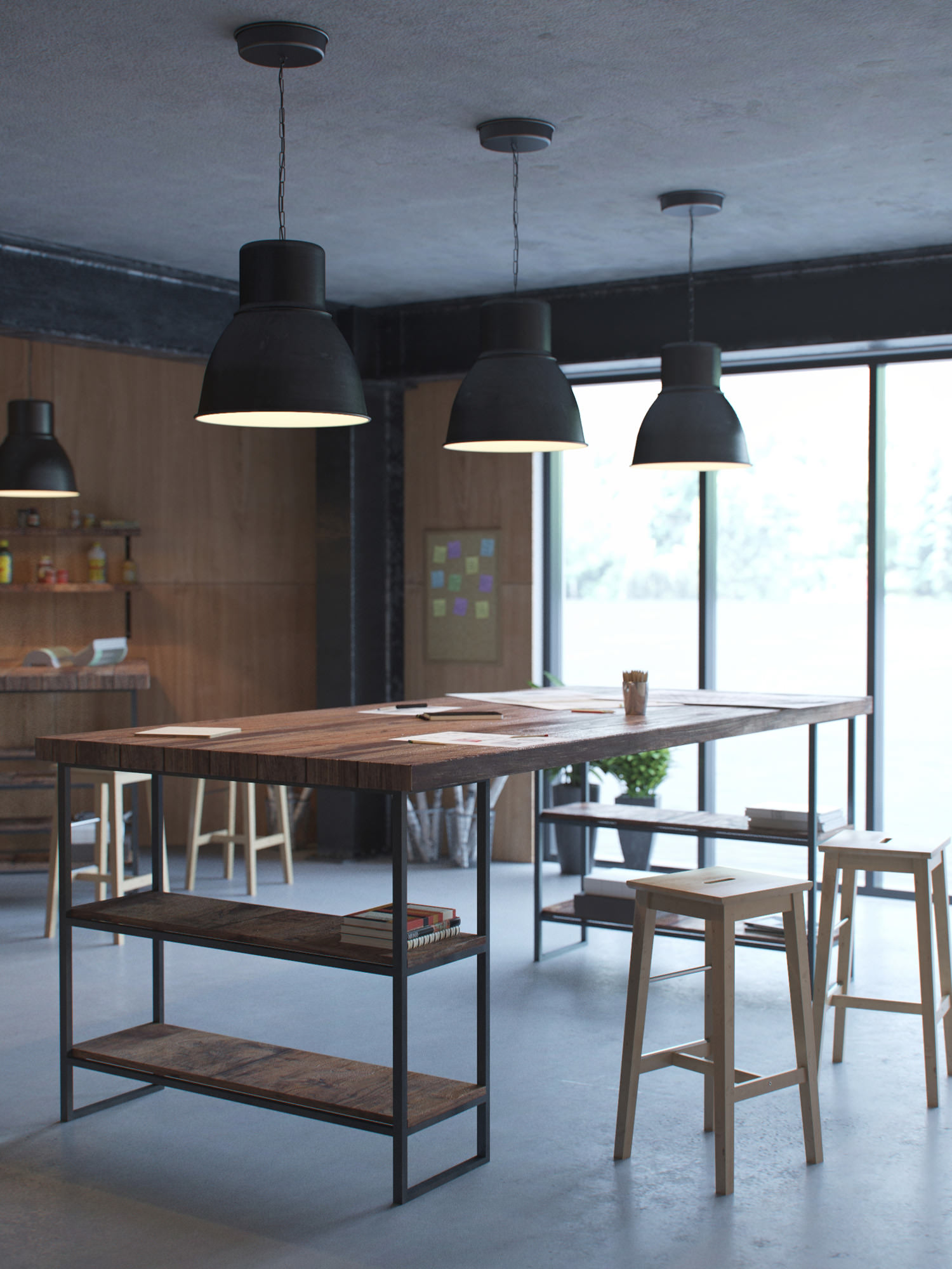 Photorealistic interior visualization of a lounge area in the factory workshop with wooden tables, bar stools and hanging lamps