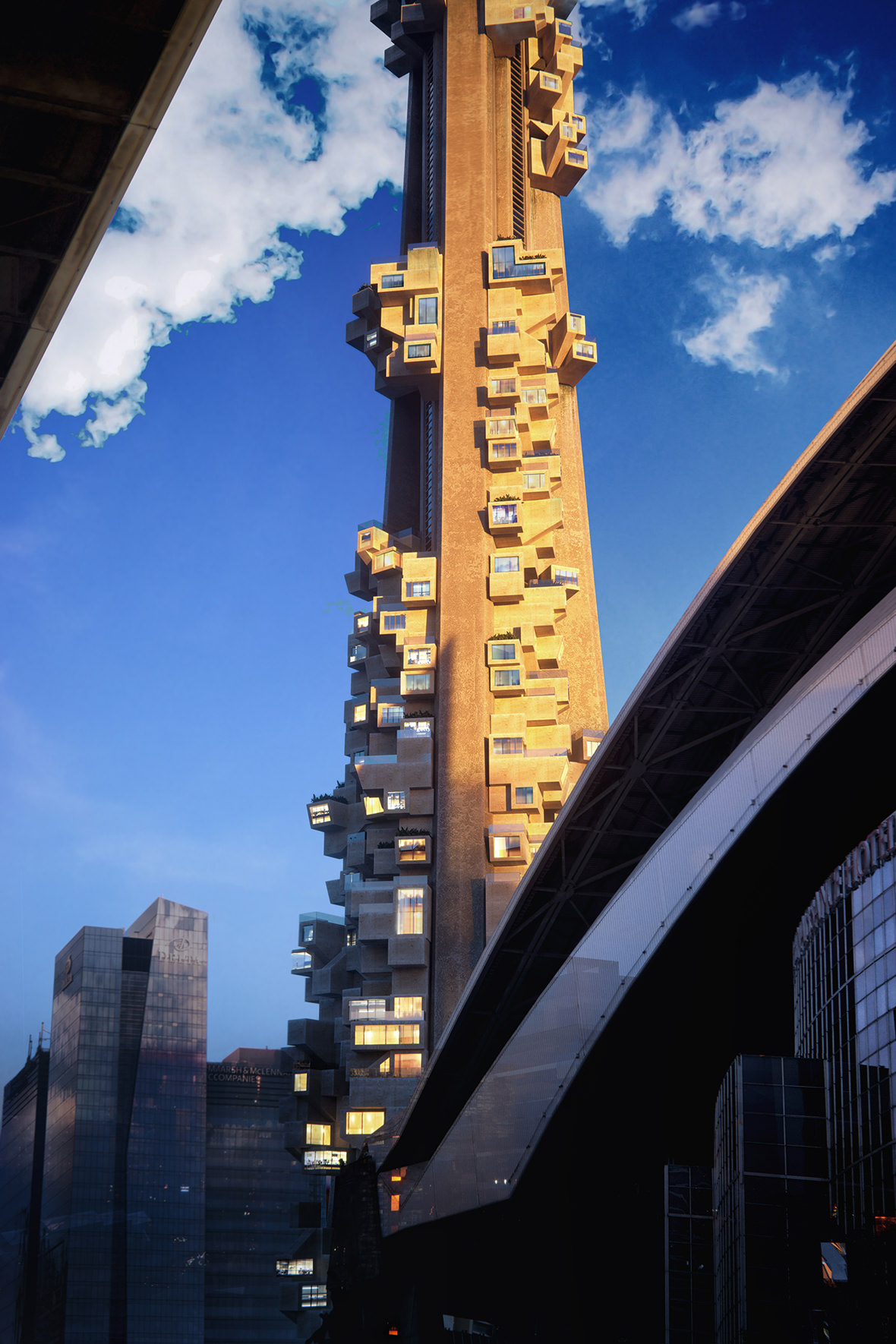3D exterior visualization of the concept of wooden modules covering CN Tower in close-up