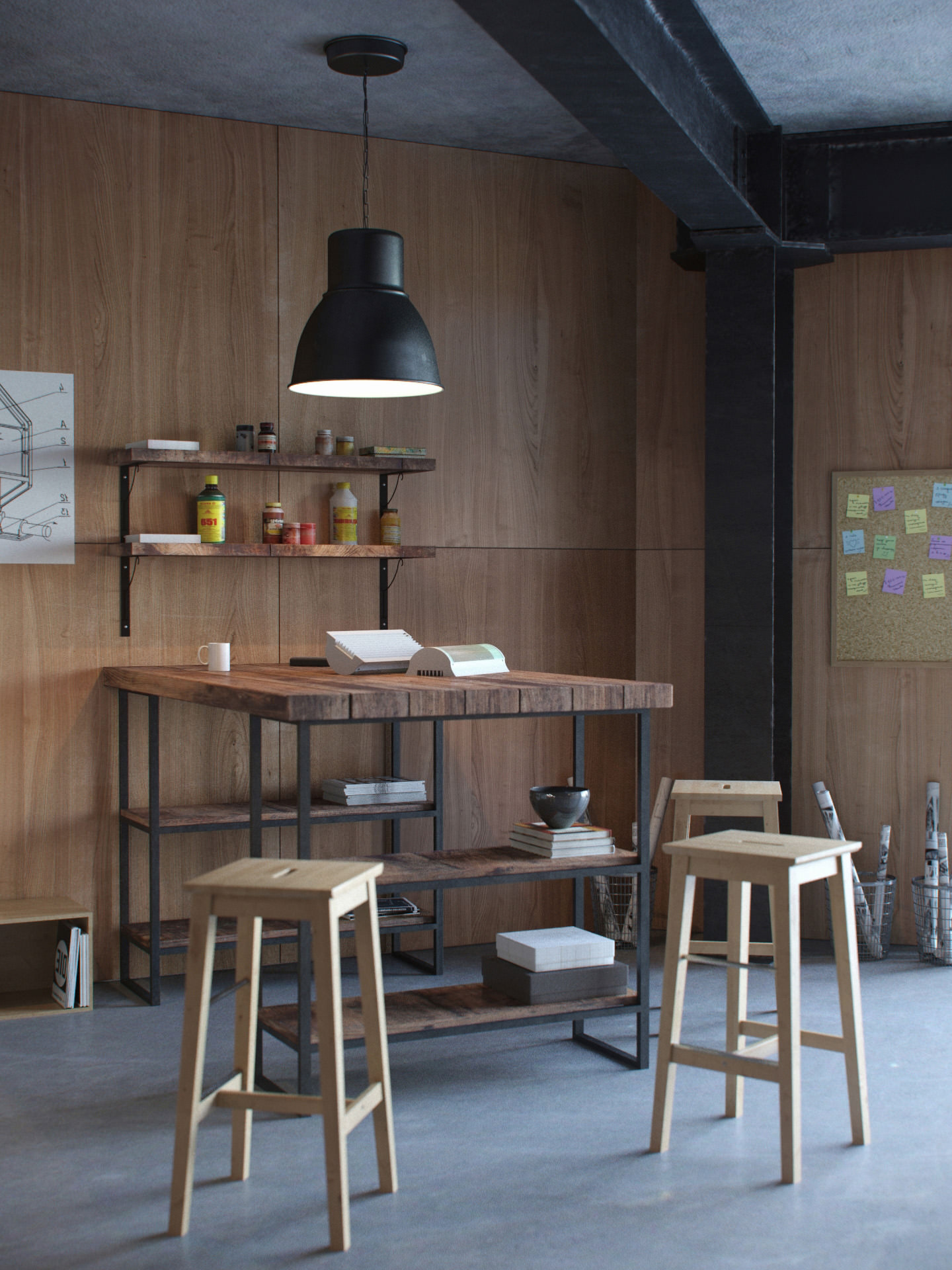 3D interior visualization of a seating area with shelves in the corner of the factory workshop