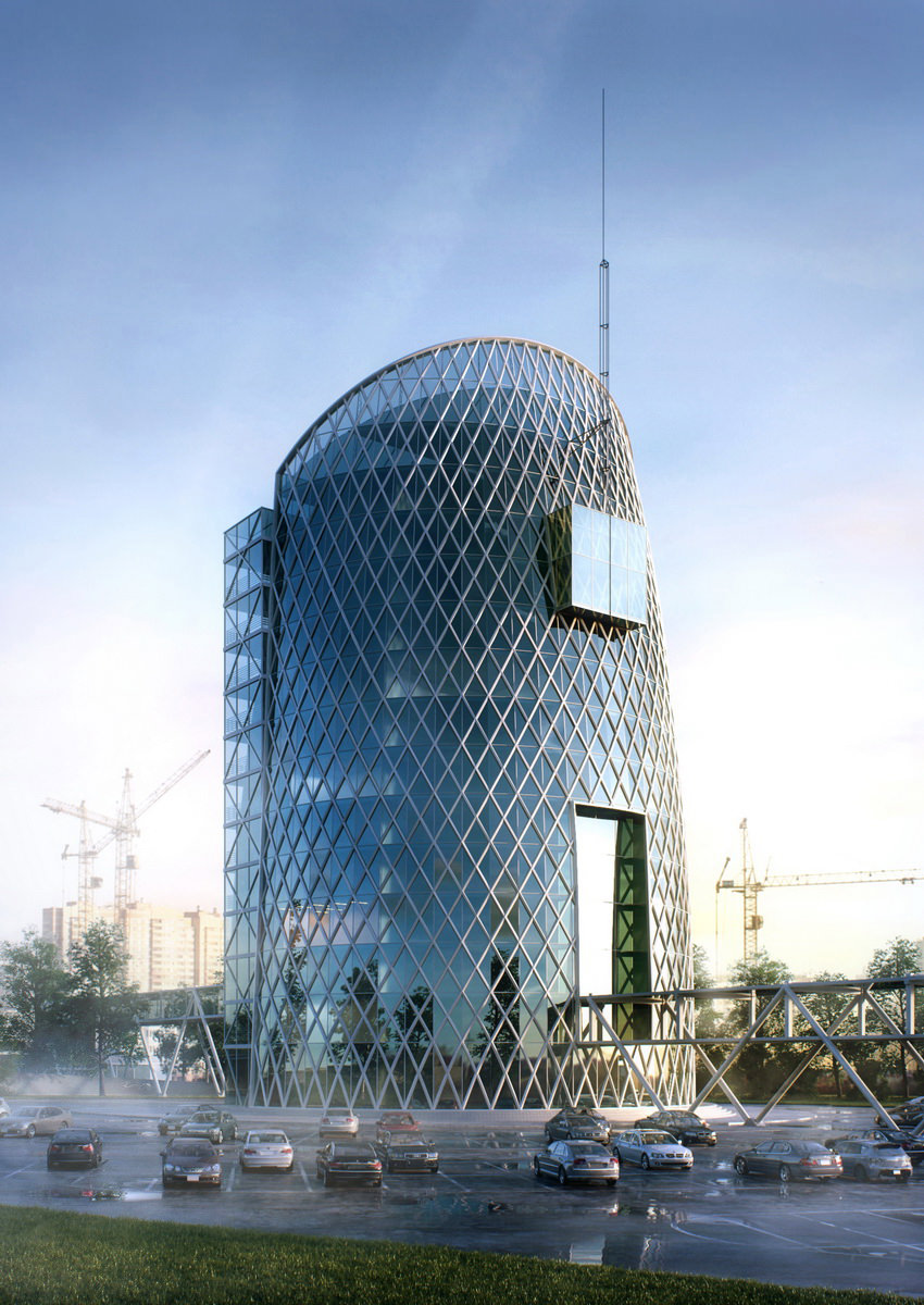 Architectural 3D rendering a business center with a motor show, a parking lot, and a construction site in the background