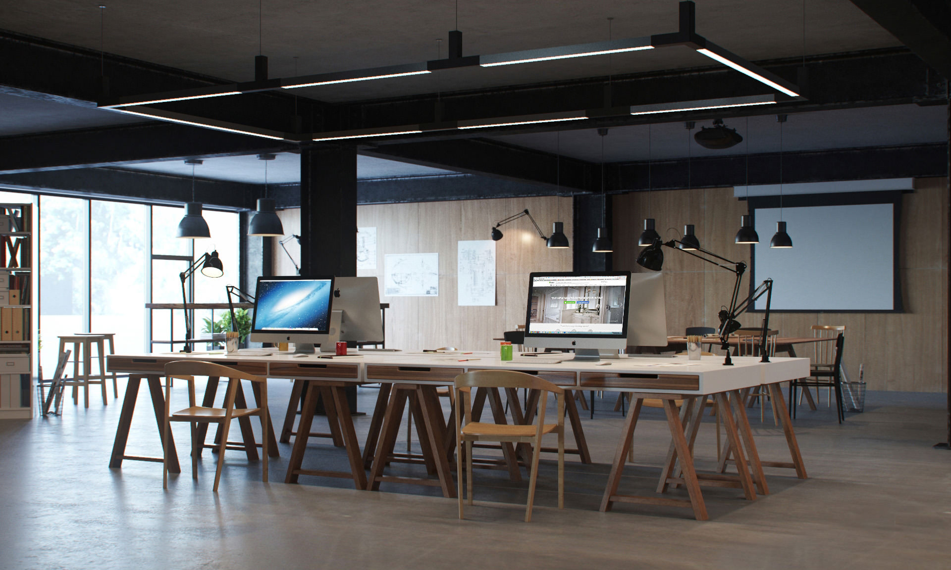 3D interior design of a workspace with desks & chairs