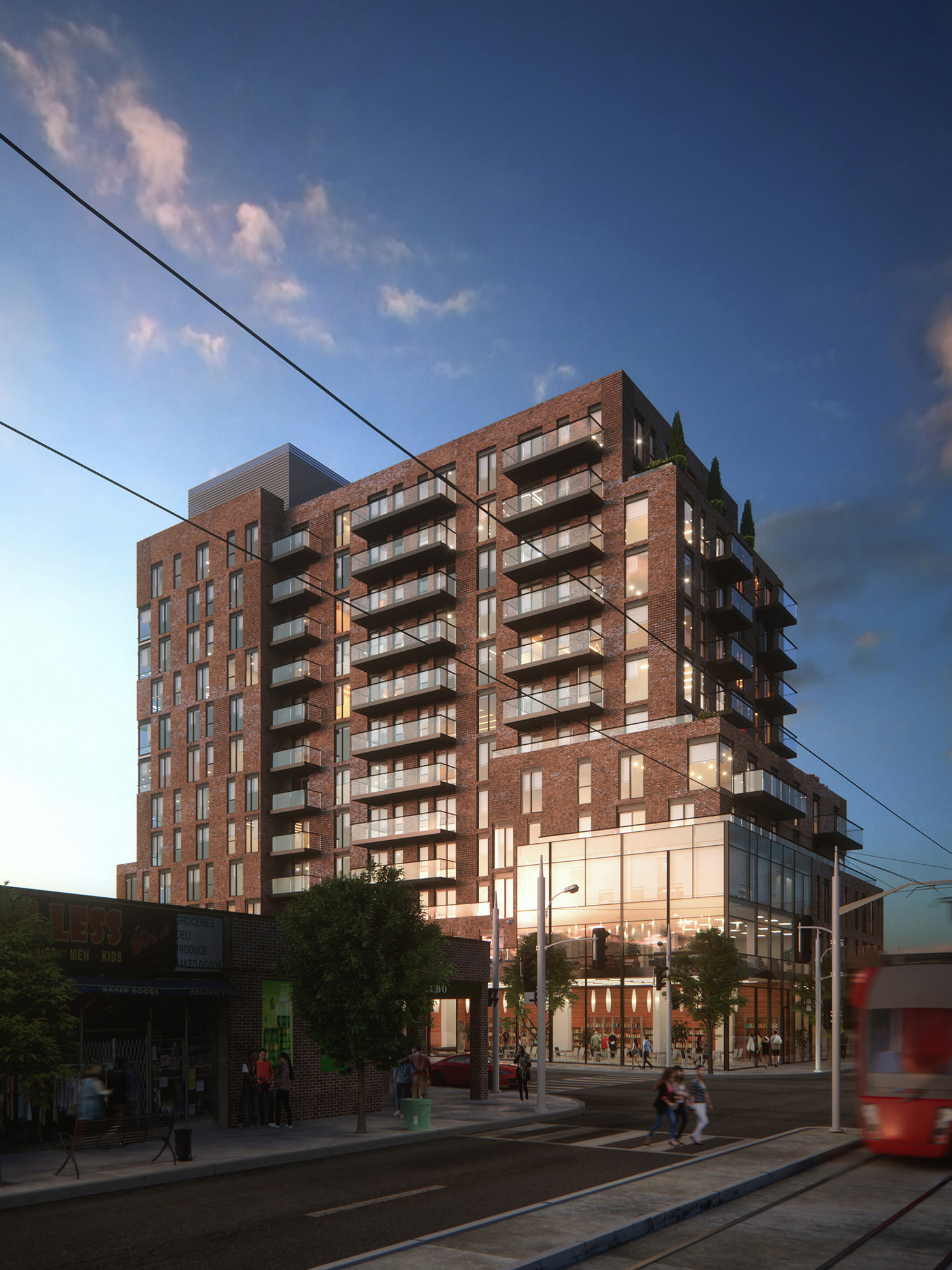 Exterior: Visualization Of Residential Brick Building In Toronto • Lunas