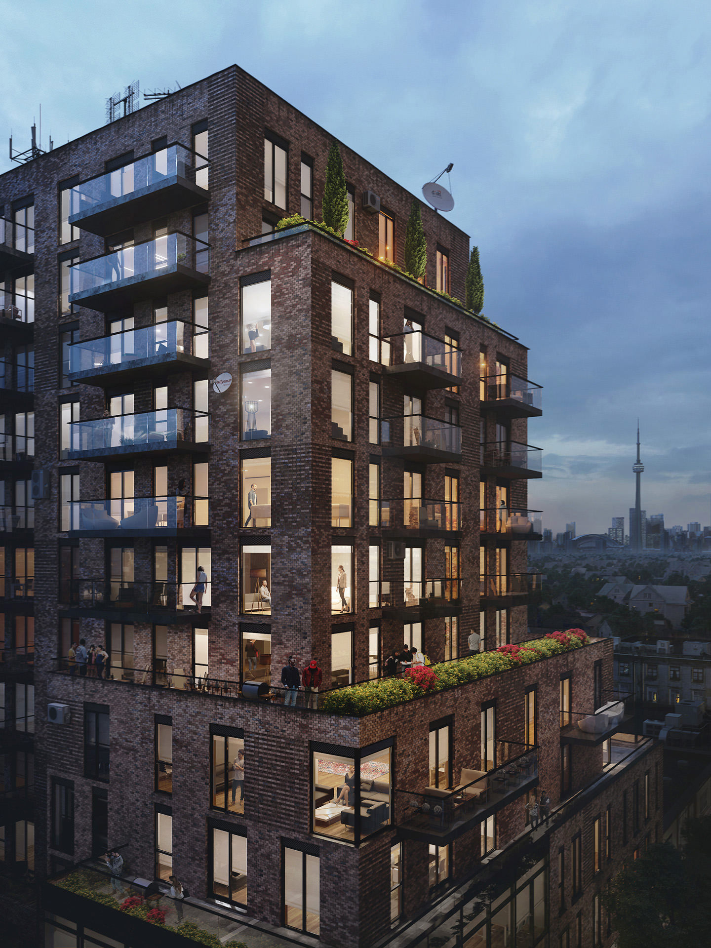 Photorealistic architectural rendering of a residential brick building with people standing on terraces and balconies in the evening light