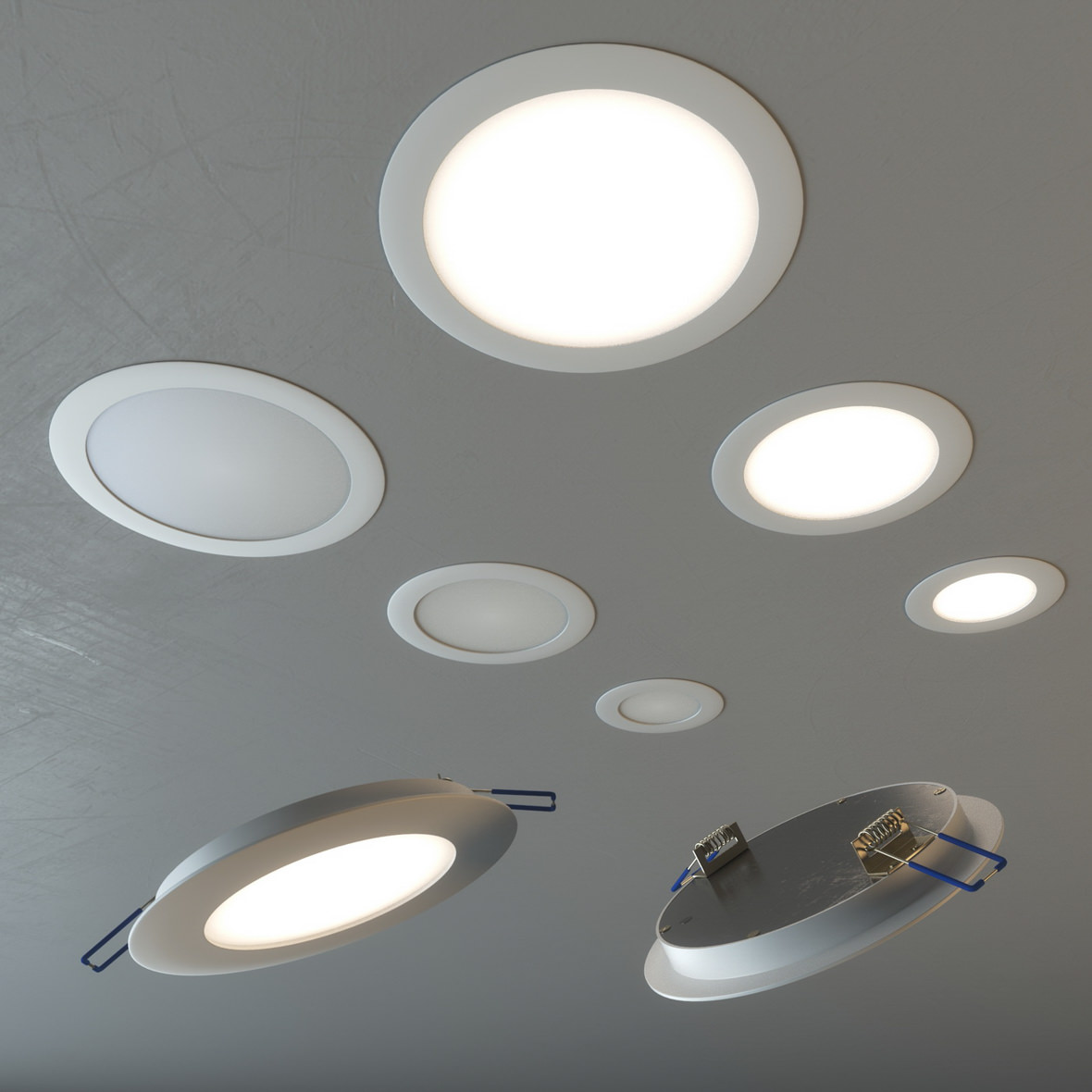 Photorealistic 3D rendering of round lamps fitted in the ceiling