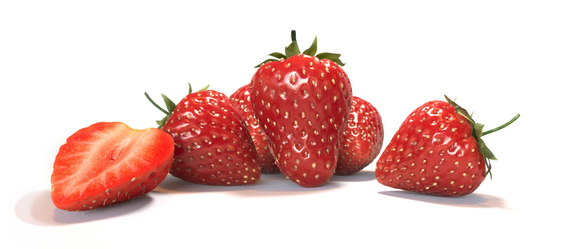 High quality 3D rendering of five red strawberries and one halved on white background, photorealistic food visualization
