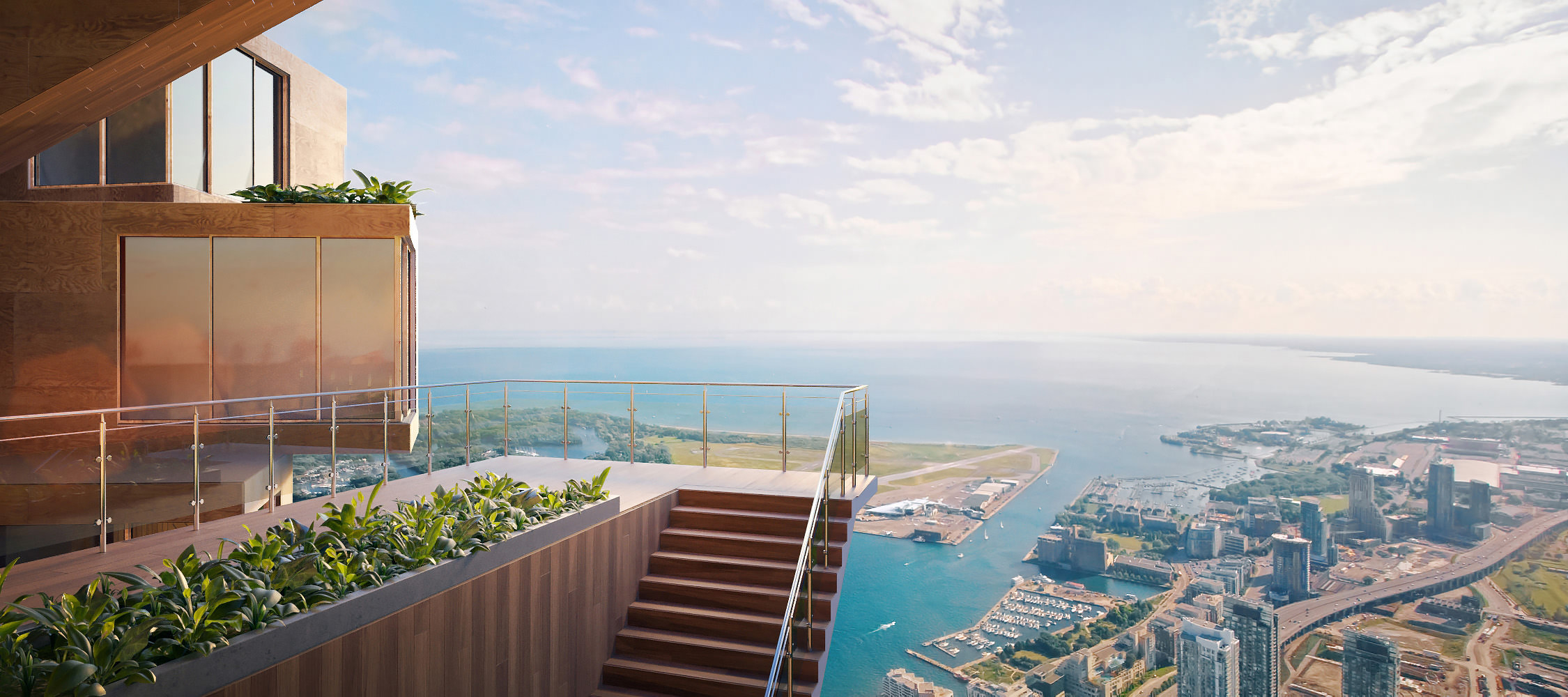 Photorealistic visualization of the area outside the wooden condominium with a panoramic view over the lake