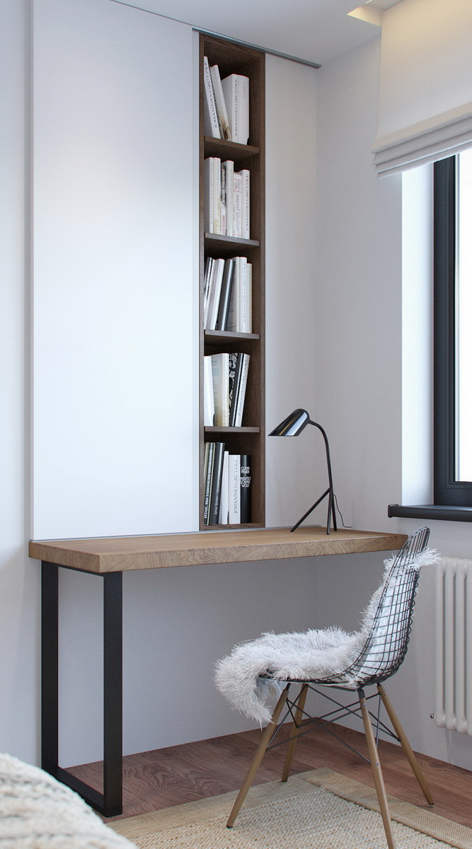 Photorealistic interior 3D visualization of a dressing table with bookshelves behind a sliding mirror door and a chair with furry cover in the bedroom