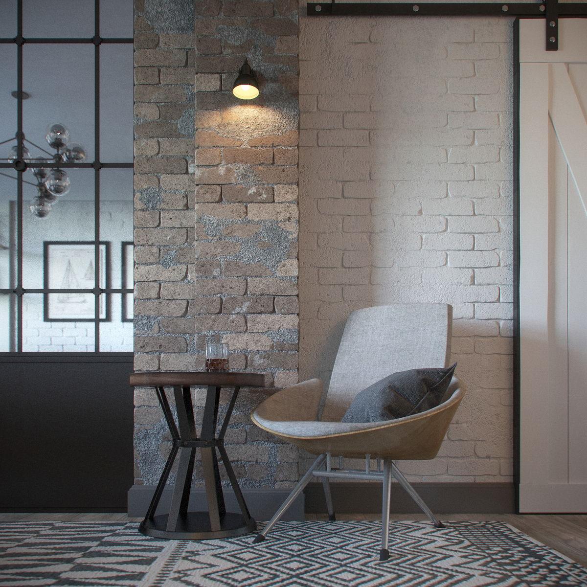 interior-3D-visualization-loft-room-mirrors-brick