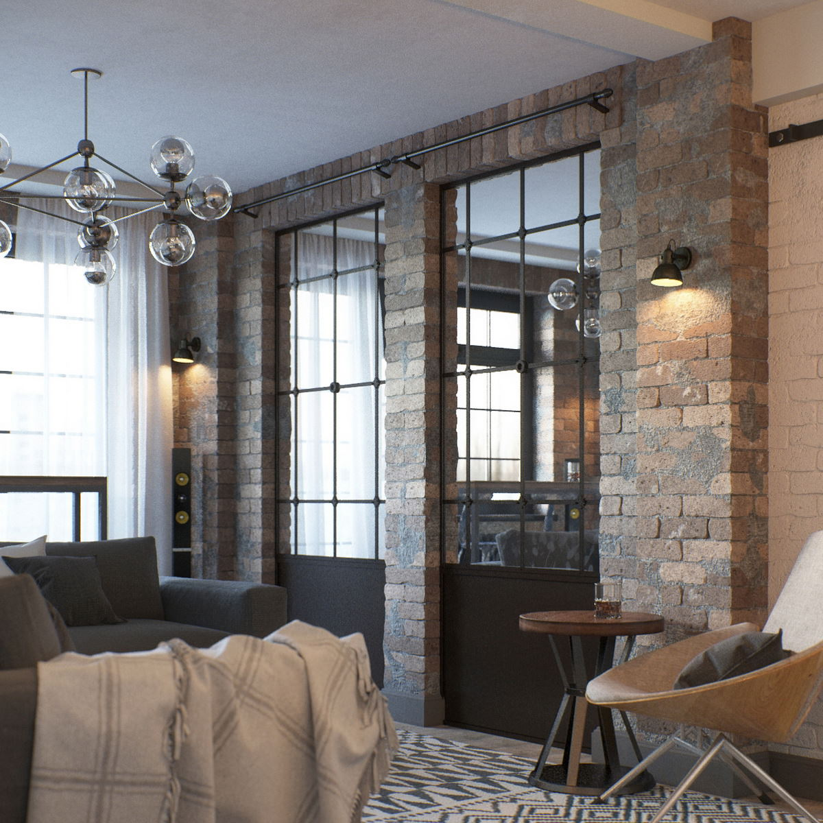 Interior Design 3d Rendering For A Chic Apartment Project: Visualization Of Loft-Style Interior Design Concept • Lunas
