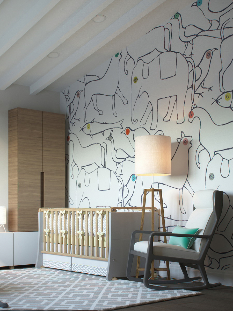Photorealistic interior render of the children's room decorated with drawings of animals on the wall with wooden crib and chair