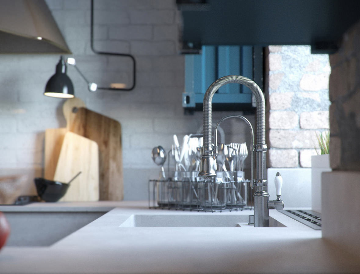 High quality 3D close-up view of a washing sink and utensils in the kitchen interior
