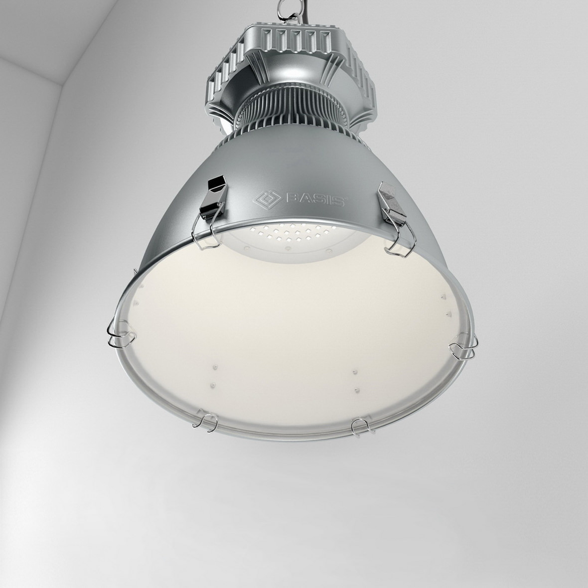 High quality product visualization of hanging industrial light fixture in metal case from the bottom
