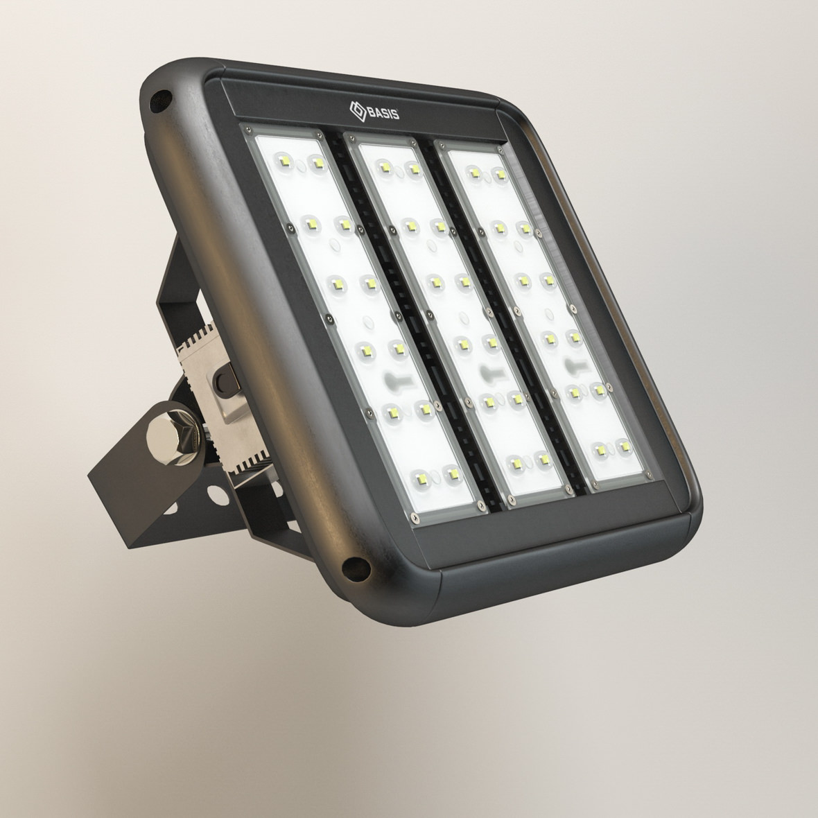 3D front view of industrial LED fixture in black case