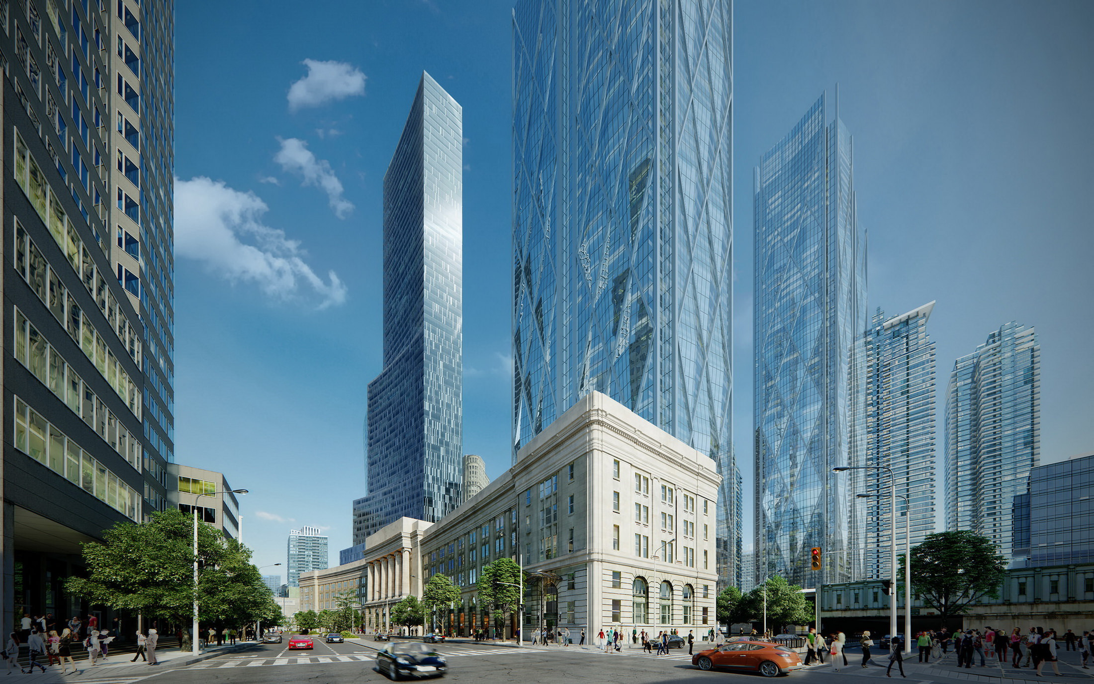 High-end architectural visualization of a skyscraper concept among the existing historic buildings, 3D street view in daylight