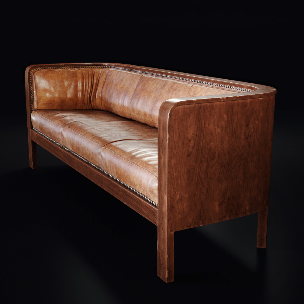 High quality 3D product visualization of a side view of a leather sofa with wooden frame