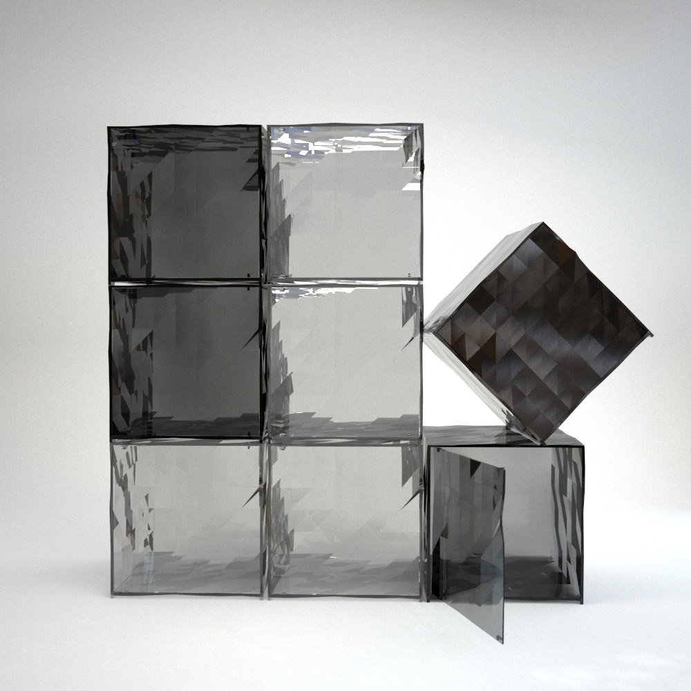 3D product visualization of square transparent glass containers with faceted walls in the shades of grey