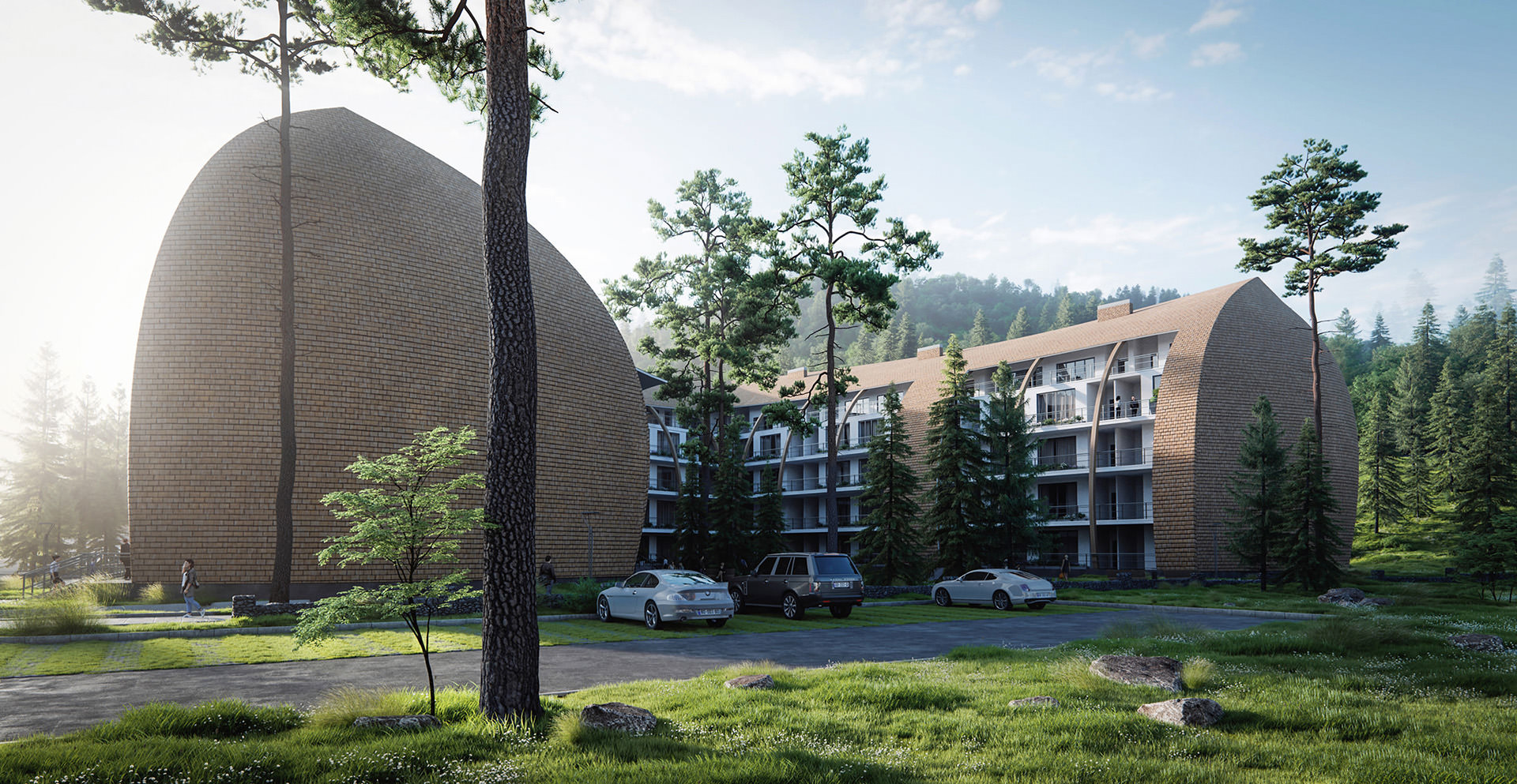 3D-exterior-visualization-residential-complex-Georgia-mountains