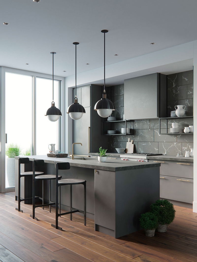3D interior rendering grey kitchen with lamps and utensils by CG designer Vasily Gushcha