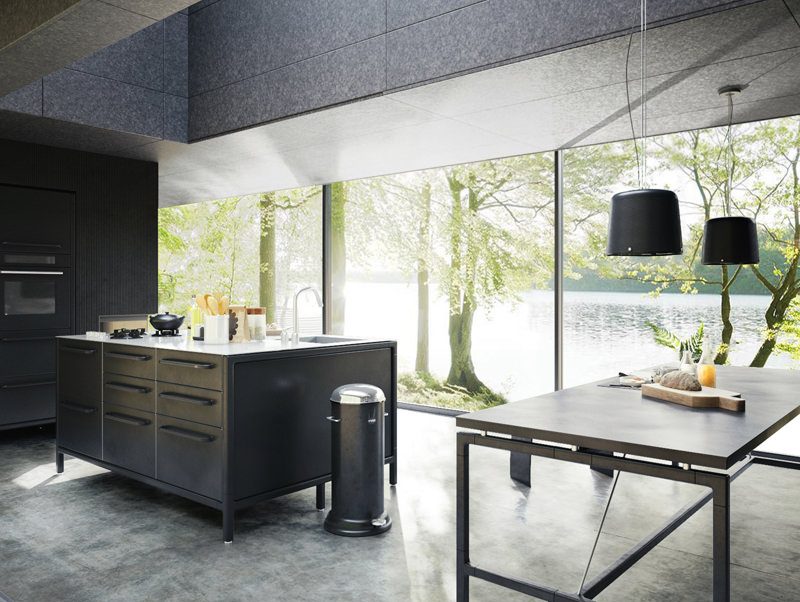 3D interior visualization of kitchen with large front windows and tables by CG artist Vasily Gushcha