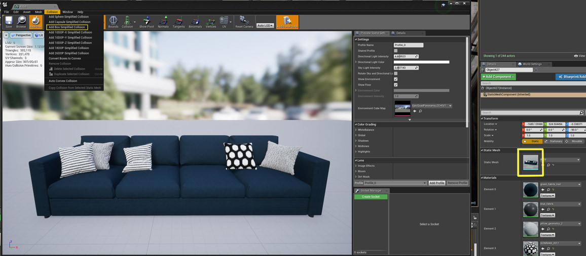 Set object collision in Unreal Studio plugin