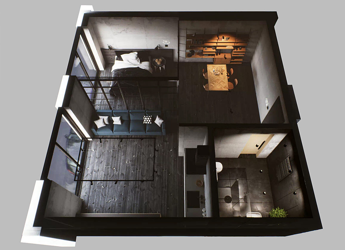 Interactive 3d virtual tour interior rendering of appartment made with Unreal Studio plugin