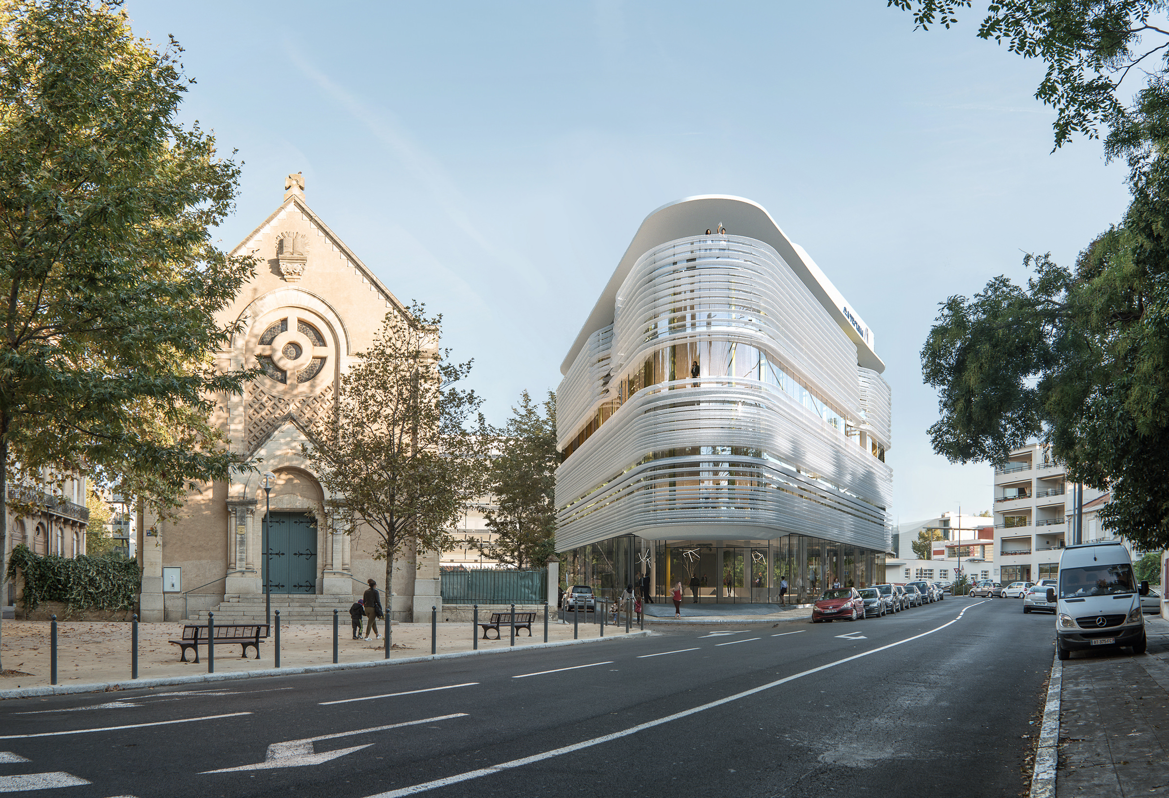 Daytime photo-insertion of 3D modeled business center into the existing surrounding of Beziers town, France