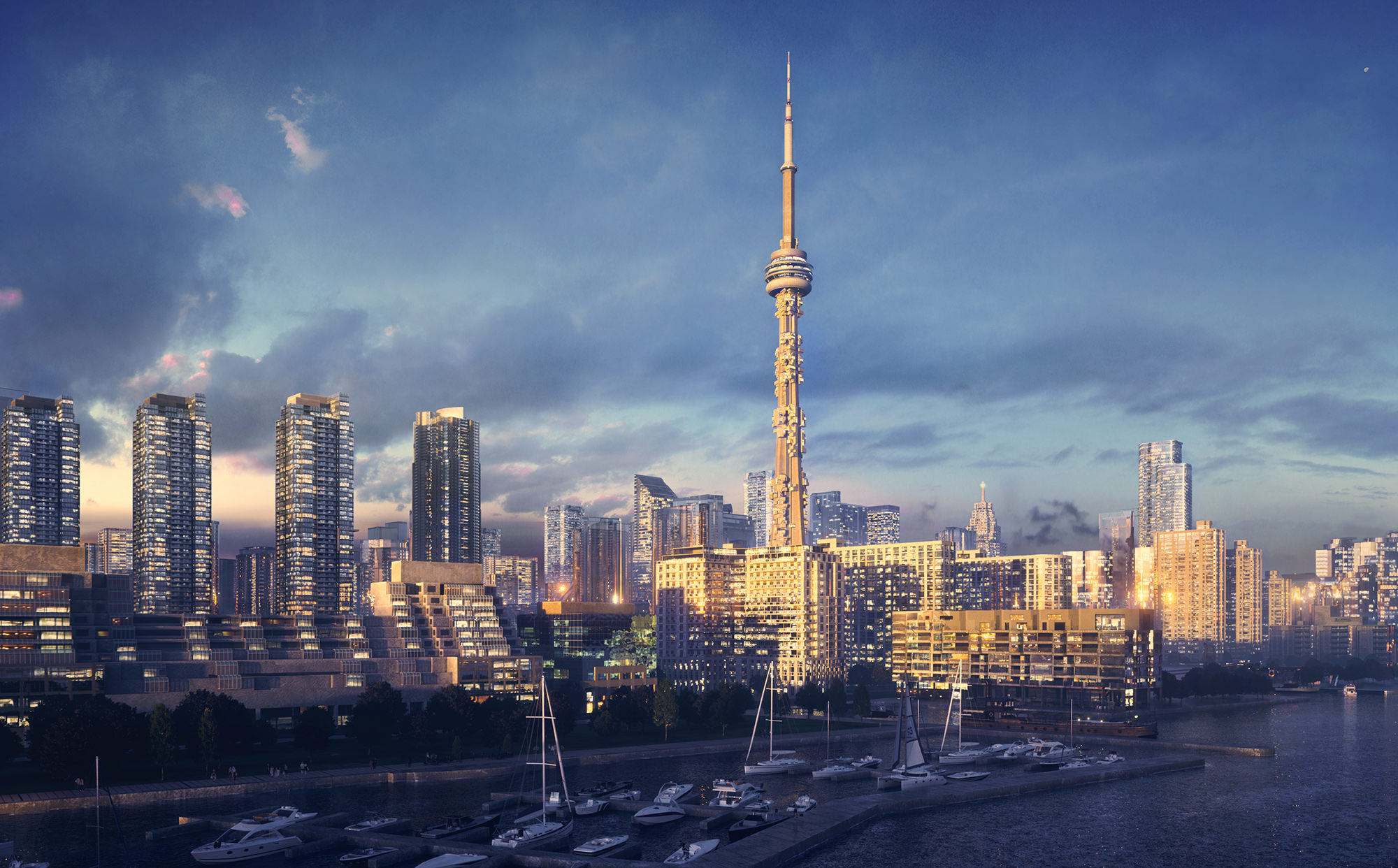 High quality architectural render of the concept of CN Tower and the neighboring buildings by the lake in the sunset.