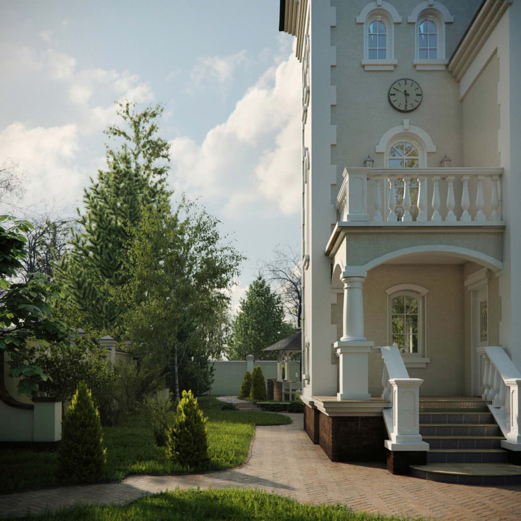 High-end exterior rendering of mansion's porch and balcony with clock in close-up and a green lawn at the side