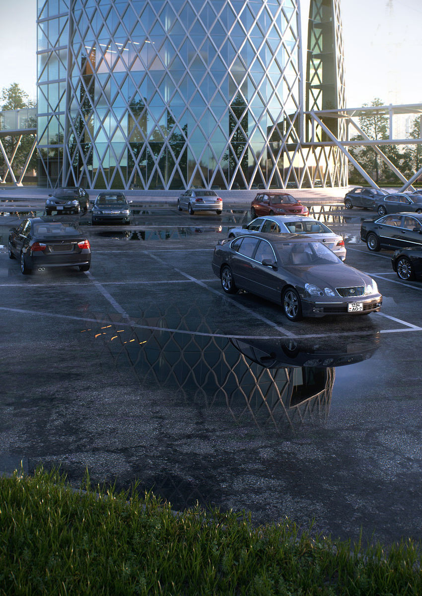 Photorealistic visualization of a parking lot near a business center with a motor show close-up view