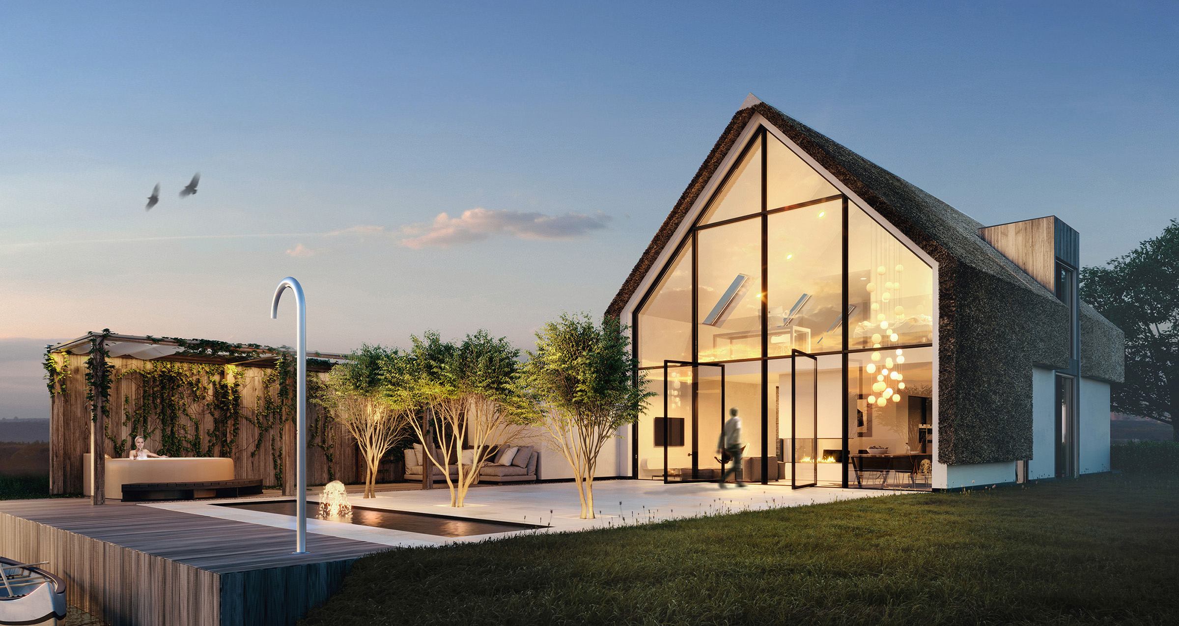3D-architectural-visualization--dusk-small-house-Netherlands-fountain