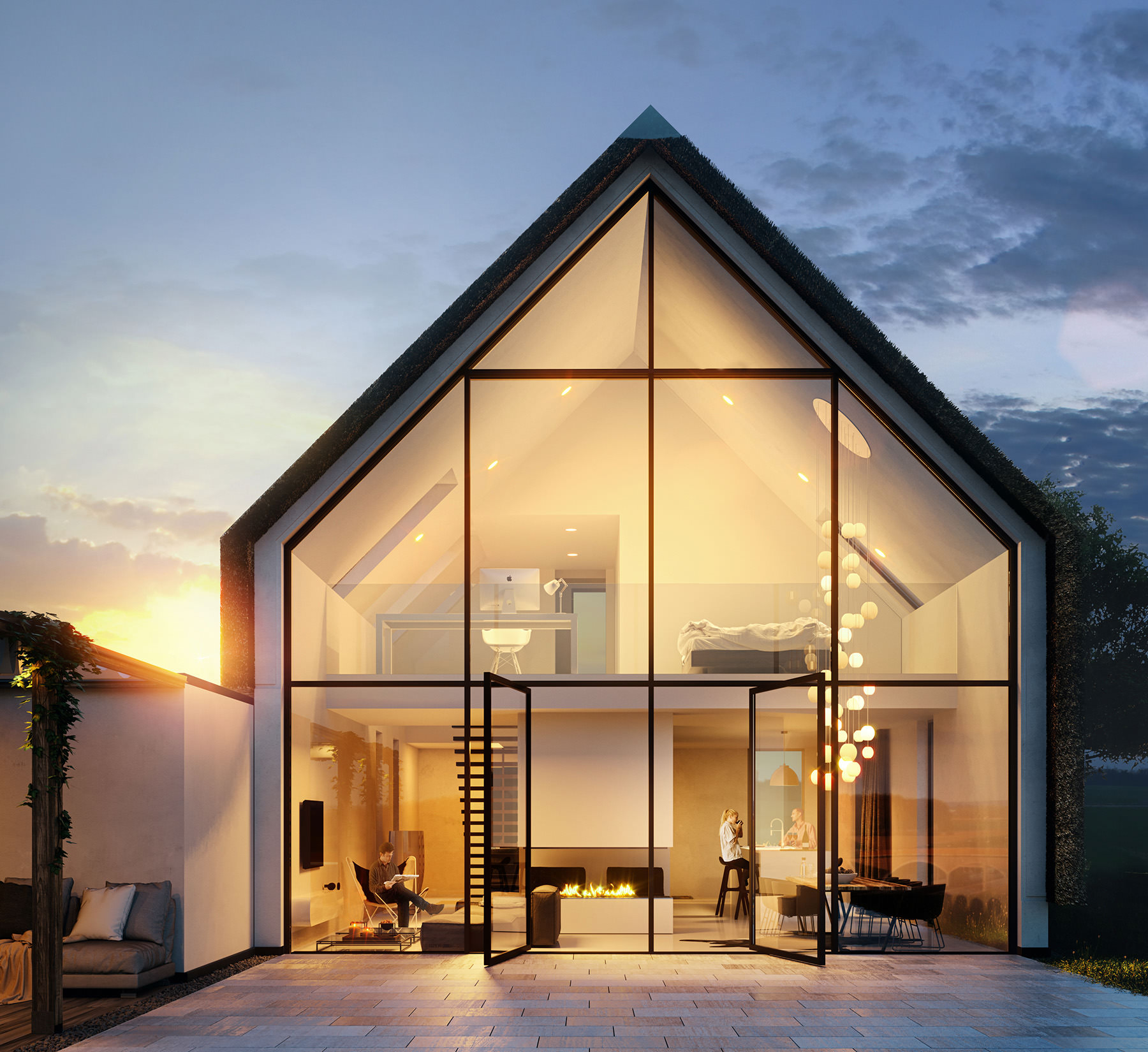 3D-architectural-visualization--dusk-small-house-Netherlands