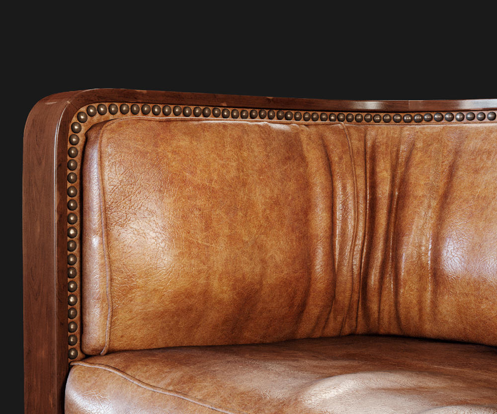 Photorealistic close-up render of a corner of a leather sofa with elements of décor and wrinkles