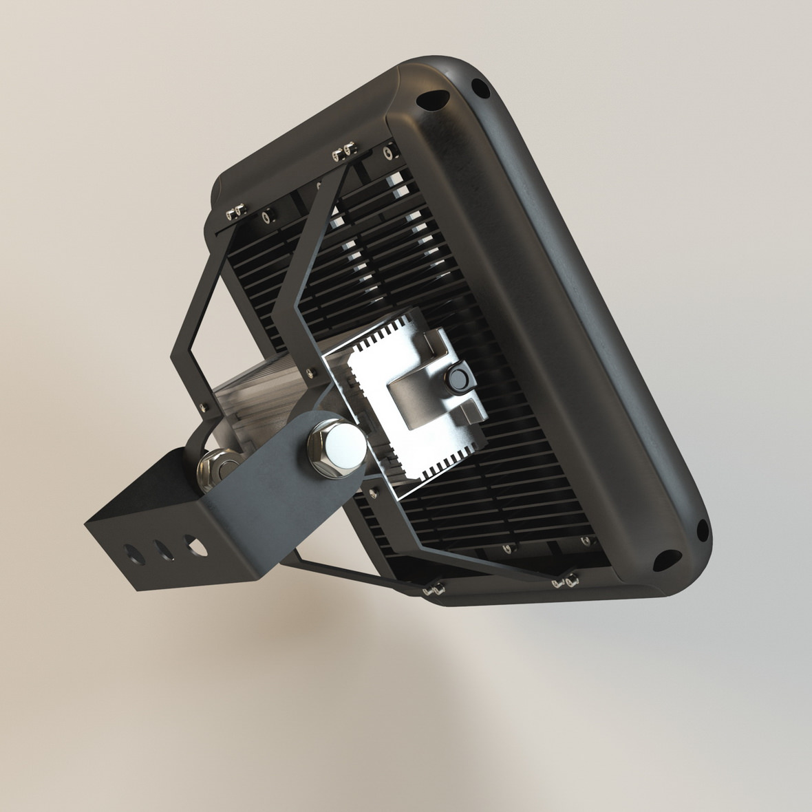 3D rear view of industrial LED fixture in black case
