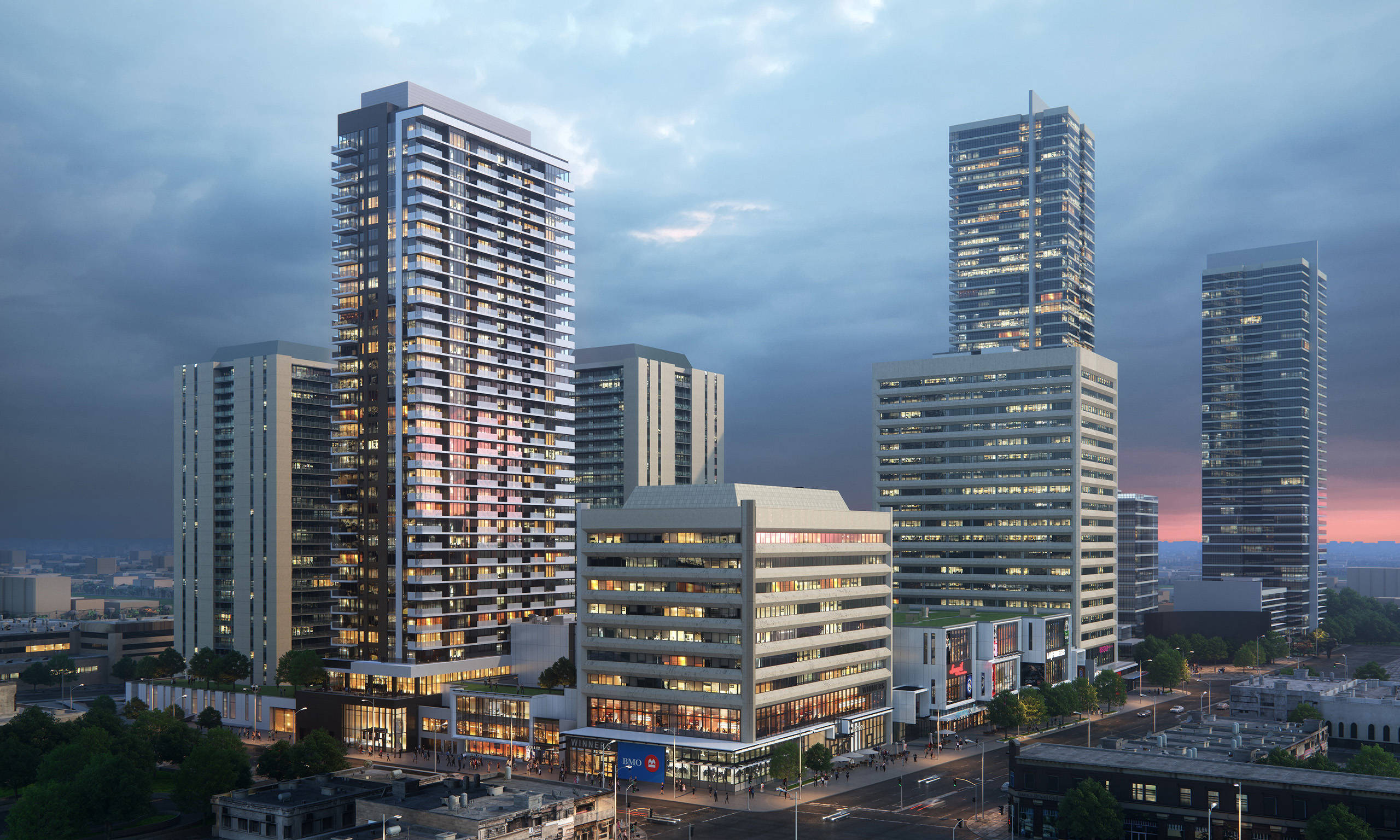 Hyper realistic 3D exterior rendering of YS Tower in Toronto, side view with the surrounding area