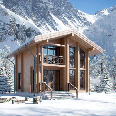 Exterior Visualization of Ski Resort Guesthouse, Georgia