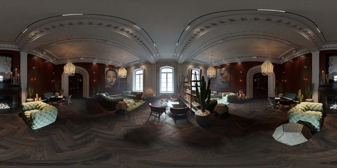 Photorealistic 3d virtual tour rendering by Lunas, 360 panorama tour of room interior