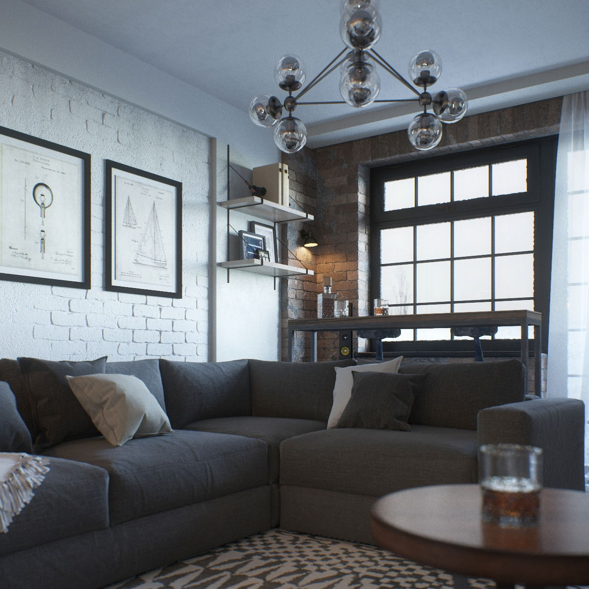 3D visualization of interiors with furniture, loft-style light fixtures, and drawings on the walls