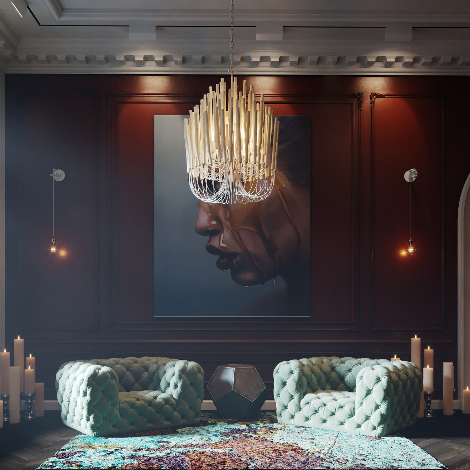 Architectural Visualization of a «Rusty Moss» carpet and designer furniture in hotel lounge setting