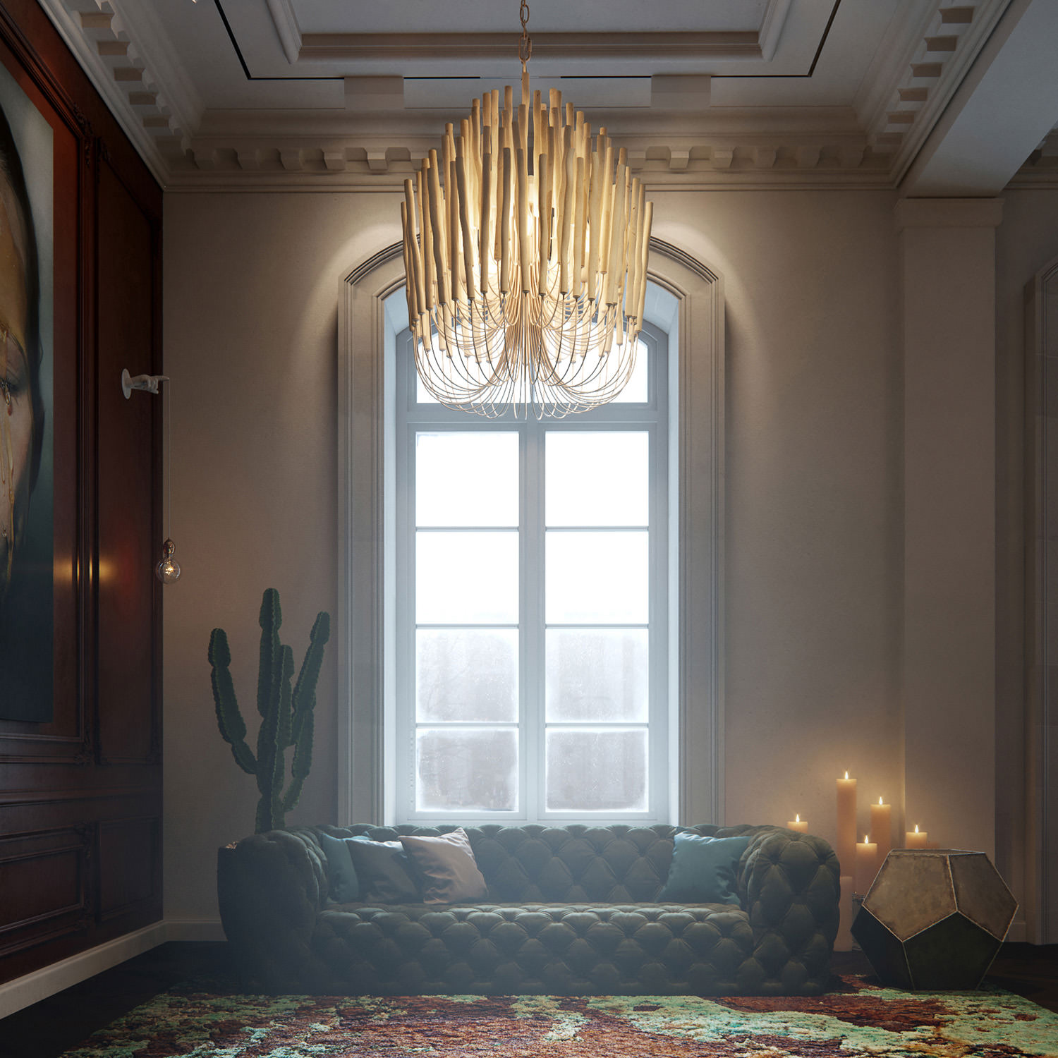 3D render of a hotel lounge concept with floor-to-ceiling windows, vintage moldings in soft candle light