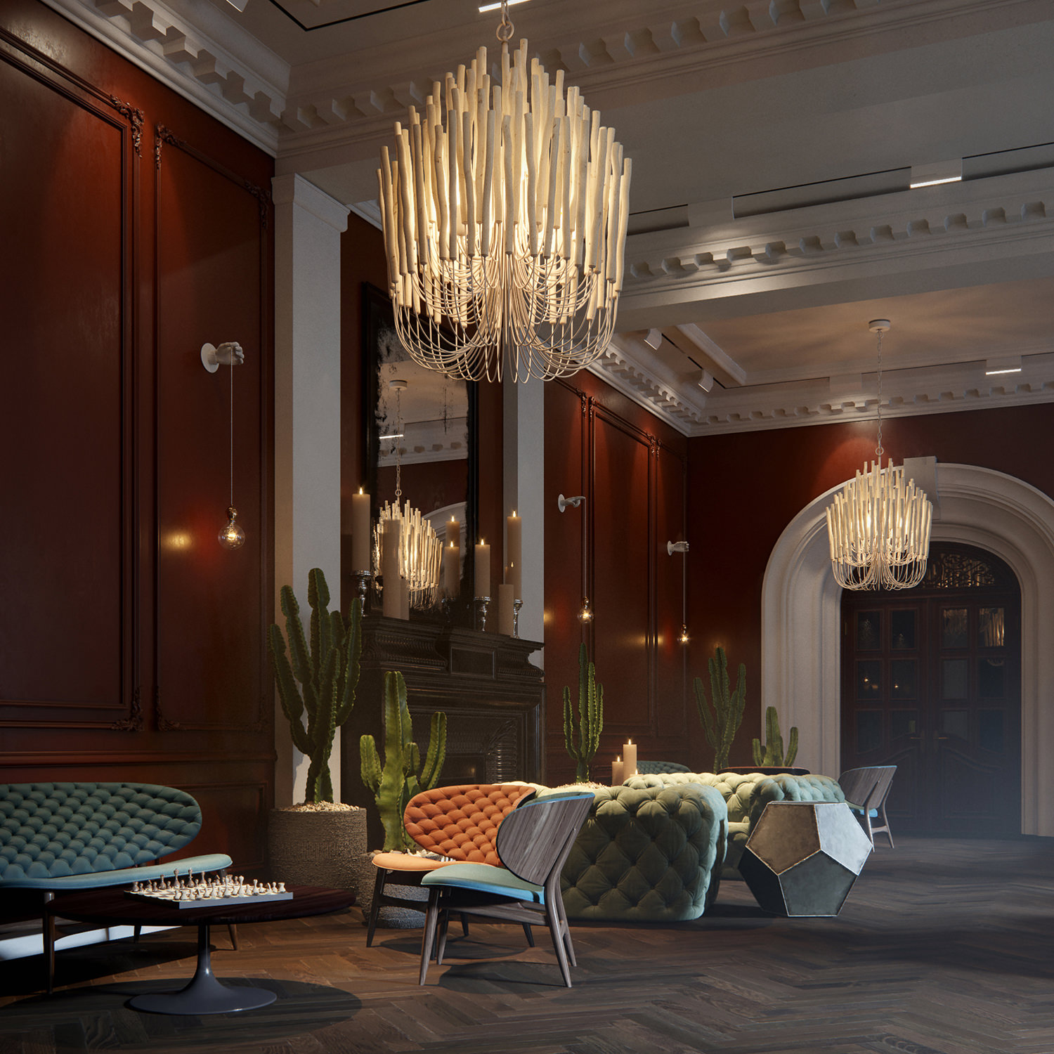 Photorealistic 3D render of a tailor-made hotel lounge interior with patinated wood moldings, leather and suede furniture, vintage chandeliers