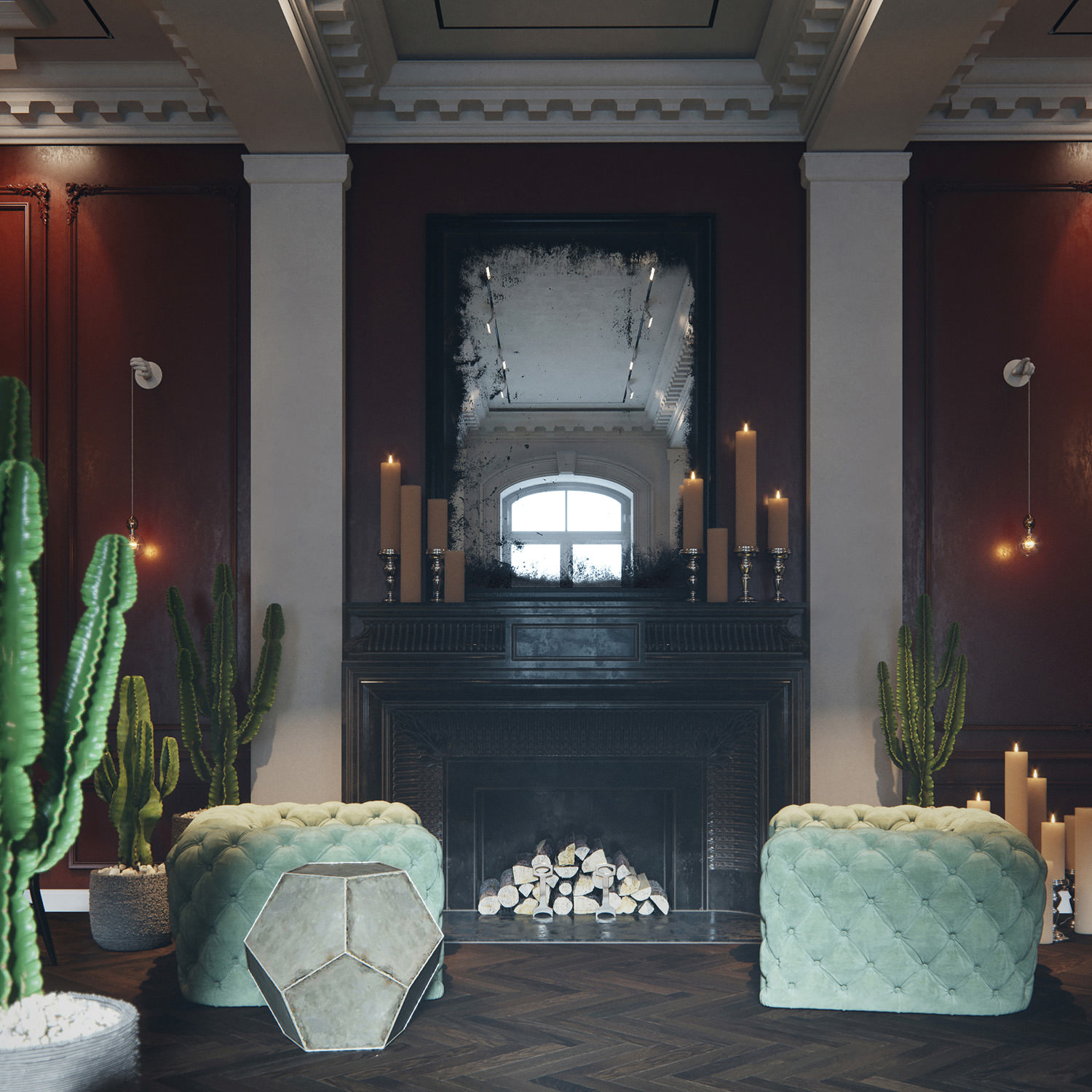 High-quality interior render of an aged mirror, mounted on a vintage fireplace, surrounded by two quilted suede armchairs