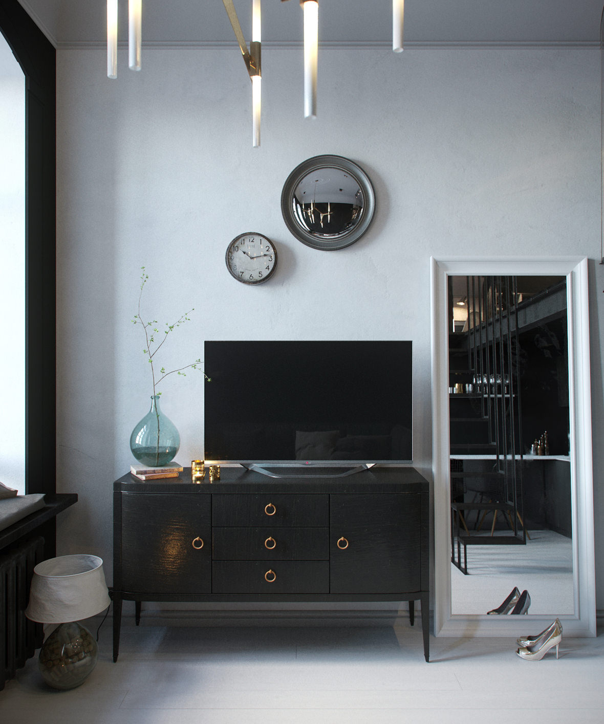 Stalinka. Photorealistic interior 3D render of living room with a TV console and mirrors