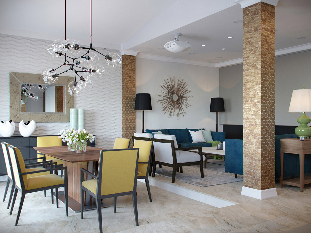 Interior 3D visualization of dining and living rooms with multicolored furniture and elements of décor