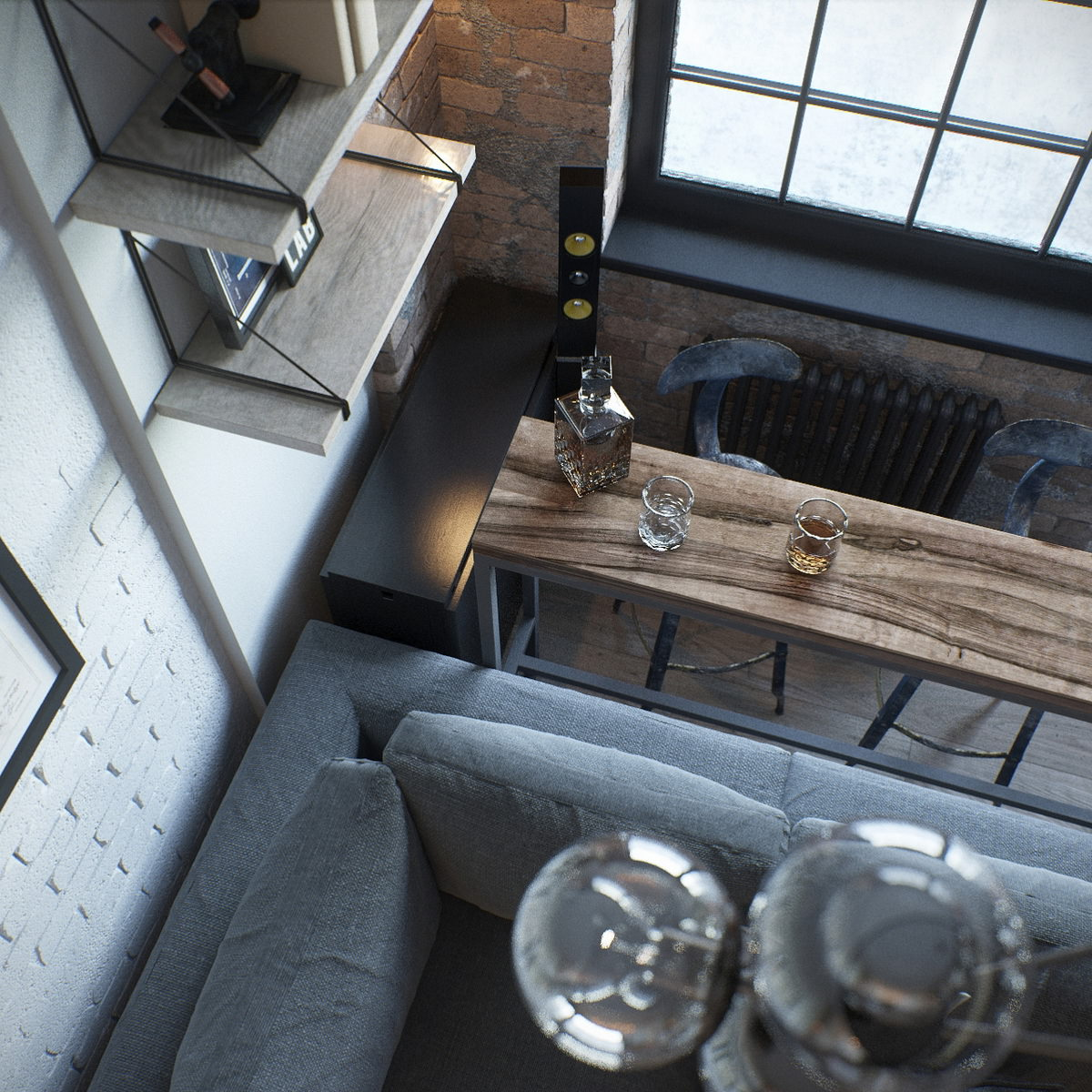 photorealistic-rendering-loft-style-room-top-view-wood-brick-glass
