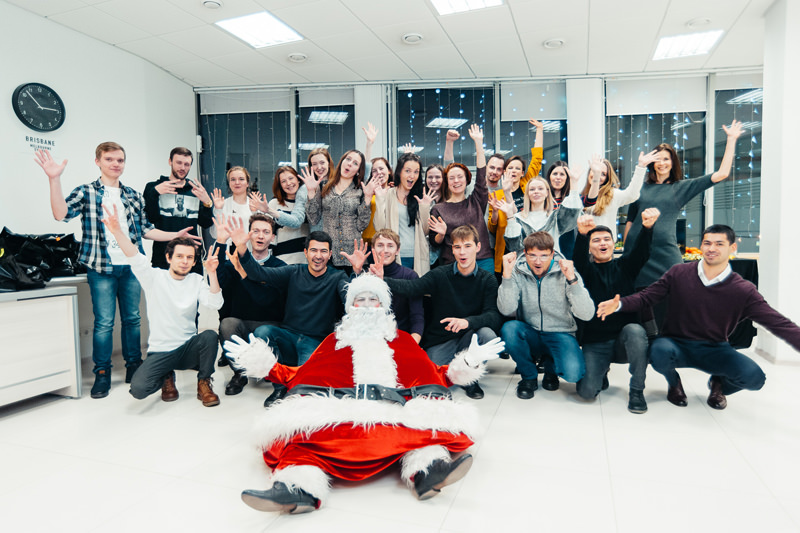CG artists and managers team of Lunas with Santa Clause
