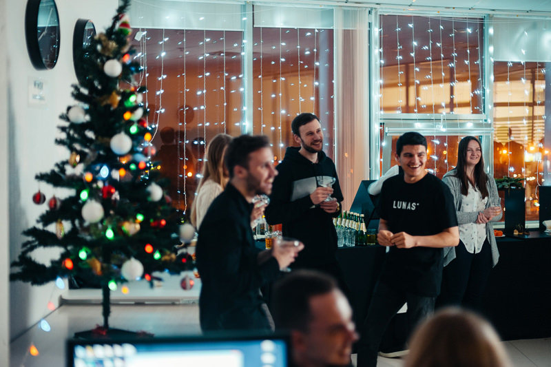 Laugh, happiness and great mood are components of the new year party in 3D visualization company's office