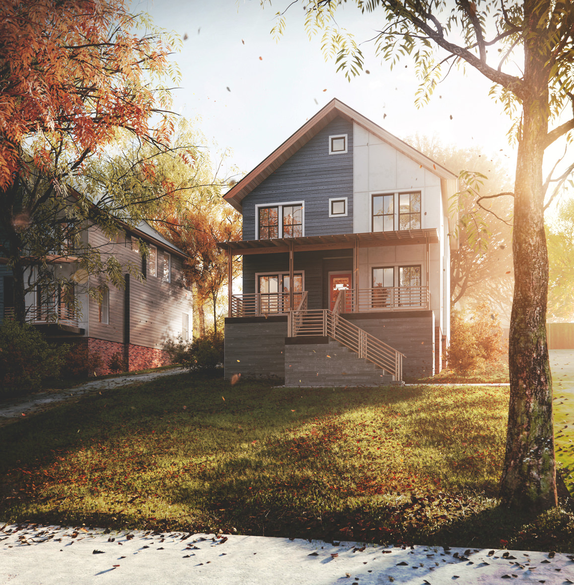 Photorealistic architectural 3D render of a small house in autumn scenery