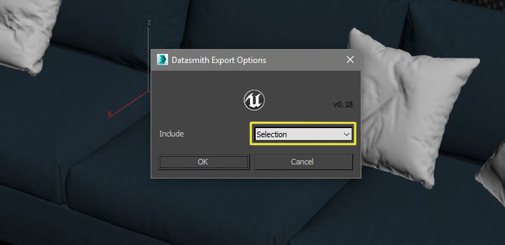 Selecting 3D object for exporting Datasmith Options